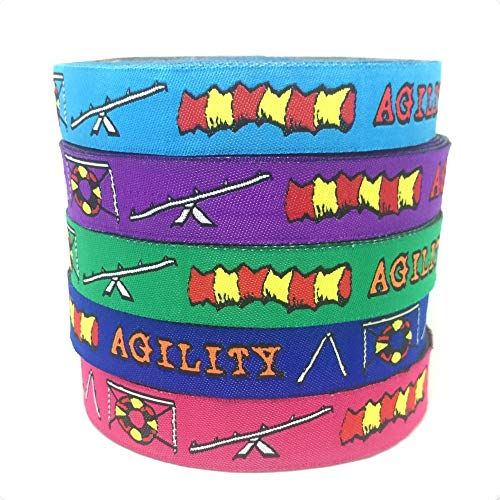 Lavenz 5 Different Colors 5/8 '(16 mmx10yards) Polyester Woven Jacquard Ribbon with Agility for Dog Collar KTZD15102888