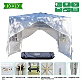 VINGLI Heavy Duty 10'x10' EZ Pop Up Canopy Tent with 4 Removable Sidewalls Panels, Folding Instant Wedding Party Commercial Pavilion Gazebo W/Portable Rolling Carrying Bag,White