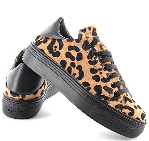 PINKO Chaussures Femme Sneakers 1H20CJ Dobbiaco 1 CZE Beige Nero Poney Nouveau nEE0D