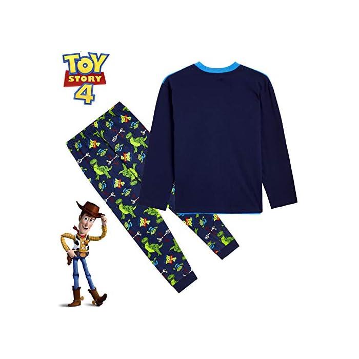 51j3kDN v2L ✔ PIJAMAS DE TOY STORY --- Este conjunto de pijama de 2 piezas viene con una camiseta azul de manga larga que presenta a tus personajes favoritos de Toy Story 4, Buzz Lightyear, Woody y Forky con pantalones largos a juego. Estos pijamas son son perfectos tanto como ropa de dormir como para estar en casa jugando. ✔ TALLAS DISPONIBLES --- Nuestros magníficos pijamas niños de Toy Story están disponibles en tallas para edades: 18/24 meses, 2/3 años, 4/5 años, 5/6 años, y 7/8 años. Pida la talla que adquiere normalmente en las tiendas y no tendrá problemas. 100% Algodón