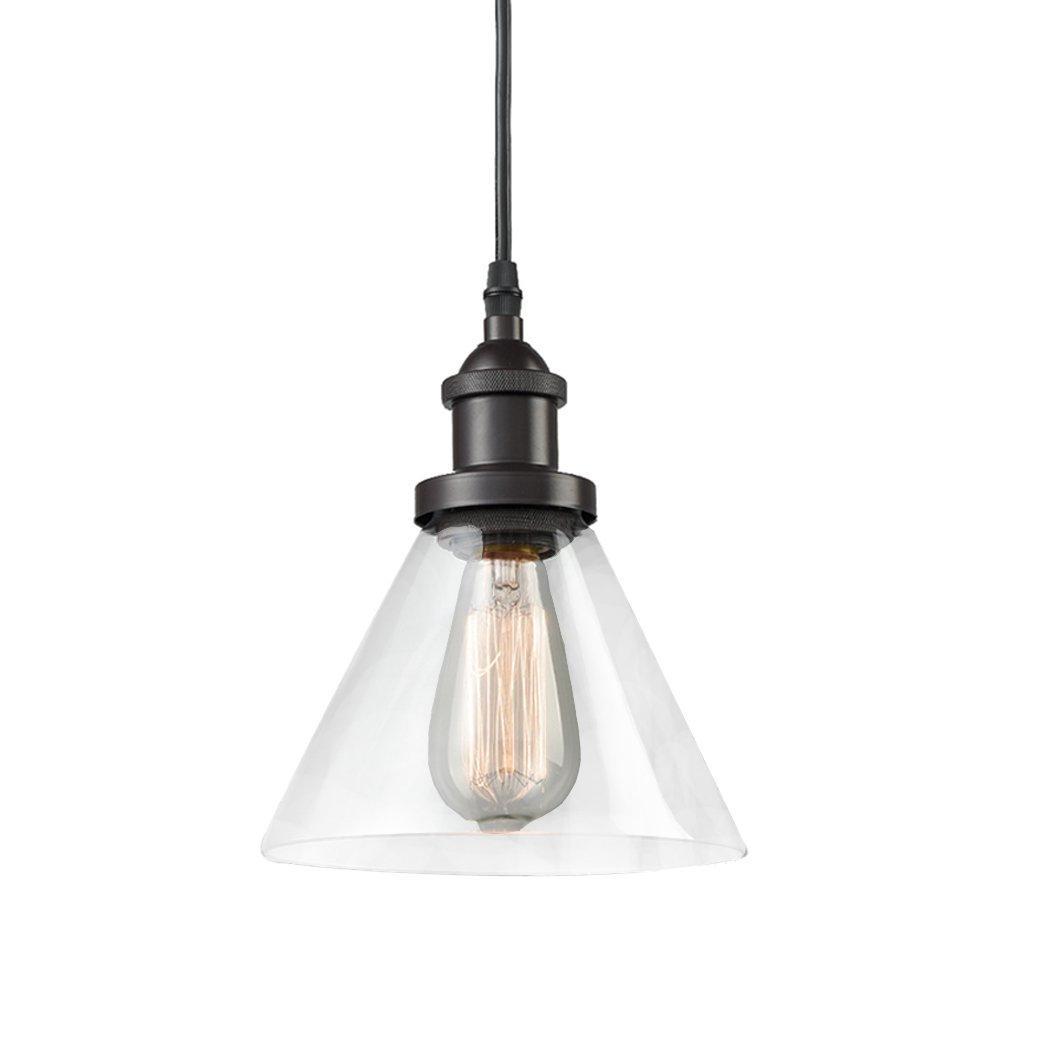 CLAXY Ecopower Antique Industrial Mini Glass Pendant Lighting 1-Light Oil-Rubbed Bronze Fixture