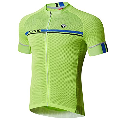 Santic Cycling Jerseys Men's Short Sleeve Bike Shirts Full Zip Bicycle Jacket with Pockets Green ()