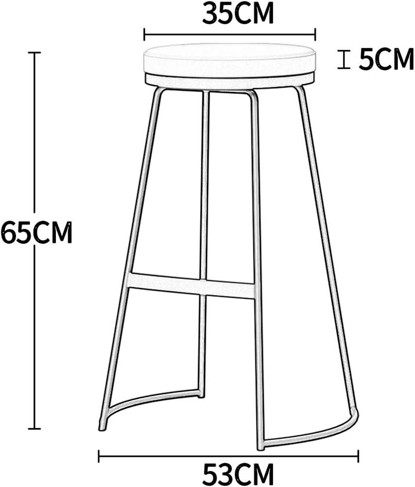 Colore : Gray Bar Stool PHTW AJS Poggiapiedi Vintage Rotondo Spugna Pad Cucina Sedia da Pranzo Sgabello carico 150 kg Gambe in Metallo Nero Altezza 65 cm A++