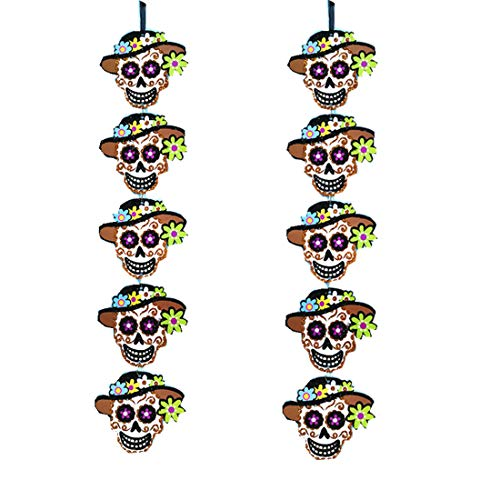 2 pcs Halloween Party Mexican Fiesta Party Hanging Sign Decoration Sugar Skull Face