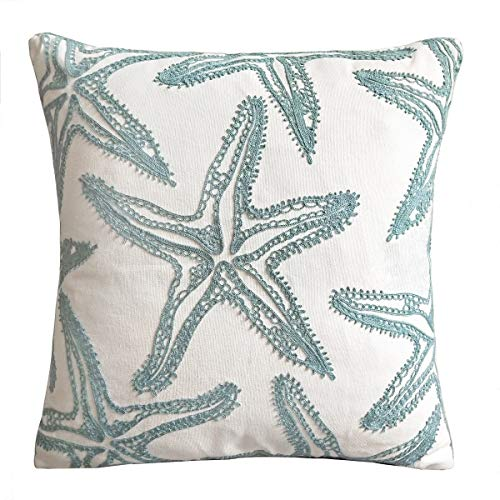 FINOHOME Embroidery Lake Blue Starfish Throw Pillow Cover,Ocean Series Nautical Decorative Pillow Case Imitation Linen Square Cushion Cover for Sofa Coastal Beach Theme Home Decor 17x17,Cover Only