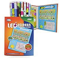 Pasaca Toys Kids Learning Pad LED Screen Scribble and Write with 6 Learning Game, Learning ABC, Spelling, Numbers