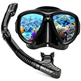 Hiearcool Snorkel Set for Adults and Youth,Diving Mask, Panoramic View Anti-Fog Lens Anti-Leak Dry Top Snorkel Gear Goggle for Swimming Snorkeling and Scuba Diving