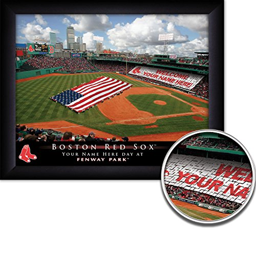Boston Red Sox Personalized MLB Card Stunt Baseball Stadium with American Flag Framed Print 14x18 Inches