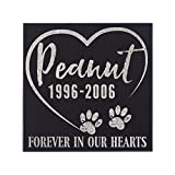 P Lab Personalized Granite Pet Memorial Stone Forever in Our Hearts Customized Tombstone - Loss of Pet Gift- Indoor Outdoor Dog or Cat For Garden Backyard 6'' x 6'' #8