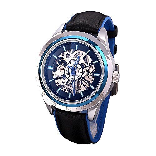 Antique Dragonfly Gears Steampunk Necklace (Business Leather Men's Fashion Exquisite Hollow Automatic Mechanical Watch Blue)
