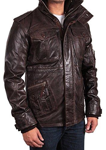 Brandslock Mens Vintage Real Leather Biker Jacket Casual ...