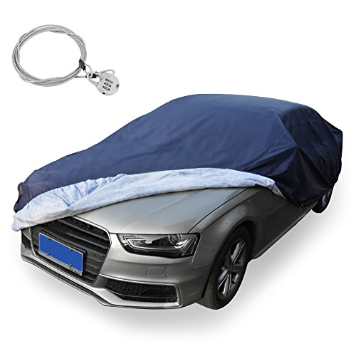 YITAMOTOR All Weather Proof Universal Fit Car Cover with Lock- UV, Dust, Rain, Snow, Water Proof Fits up to 169 inches (PEVA, Dark Blue) (Cover Dodge Avenger Car)