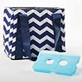 Image of Fit & Fresh Women's Venice Insulated Lunch Bag with Ice Pack, Stylish Adult Lunch Bag for Work or School, Navy & White Chevron