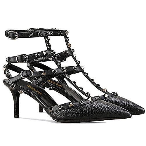 Caitlin Pan Women Fashion High Heel Pointed Toe Ankle Straps Studs Stiletto Formal Party Dress Sandals Studded Court Shoes Black Pattern/Black Stone UKq8hM0J