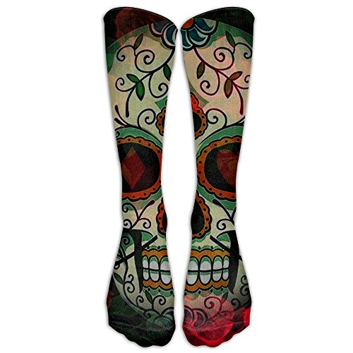LINGMEI Skull And Rose Athletic Tube Stockings Women's Men's Classics Knee High Socks Sport Long Sock One ()