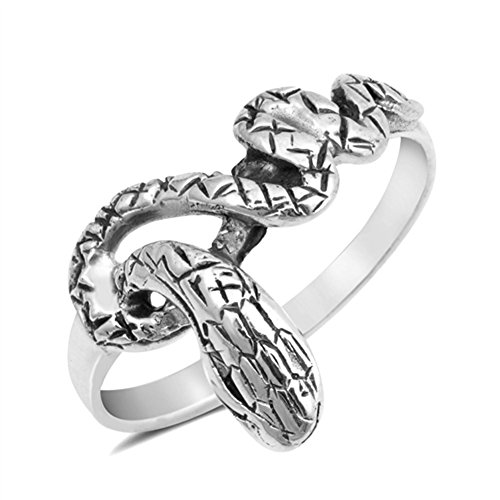 Etched Snake Serpent Coiled Ring New .925 Sterling Silver Band Size (Sterling Silver Coiled Snake)