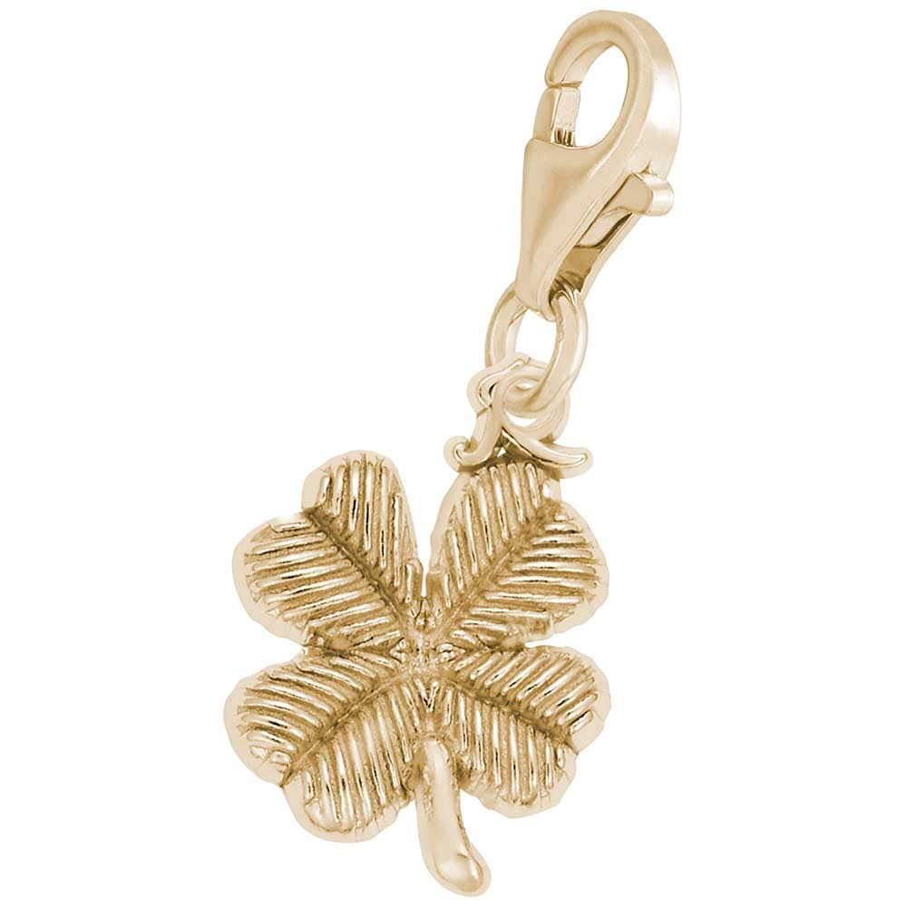 10K Yellow Gold Rembrandt Charms Four Leaf Clover Charm with Lobster Clasp