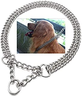 Professional Chrome Martingale Large Double Chain No Choke Slip Training Pet Collar for Dogs Small and Medium