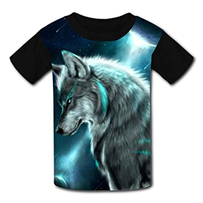 Moon Tribe Mountain Wolf Child Short Sleeve Fashion T-Shirt of Boys and Girls: Clothing