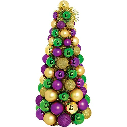 Amscan Gold, Green & Purple Ornament Tree 5 x 18 Inches -