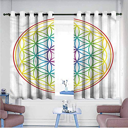 - SAMEK Grommet Window Curtains,Colorful Radiant Flower of Life,Curtains for Living Room,W63x72L