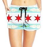 Womens Wide Waistband Swim Shorts Chicago Flag Skyline Bear Feather Trunks Boyshort Bottoms With Pockets