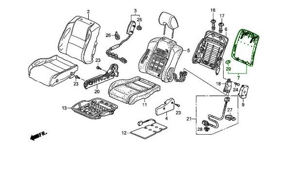 Left Honda Genuine 81521-SNE-A12ZA Seat Back Trim Cover Front