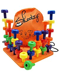 Skoolzy Peg Board Set - Montessori Occupational Therapy Fine Motor Skills Toy for Toddlers and Preschoolers. 30 Pegs in Board for Color Recognition Sorting Counting - 30pg Activity Pegboard Download BOBEBE Online Baby Store From New York to Miami and Los Angeles