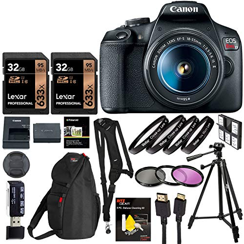 Canon EOS Rebel T7 DSLR 24.1MP DSLR Camera with Vivitar Sling Strap, Tripod, Close-Up Diopic Filters, Filter Kit, HDMI Cable and More