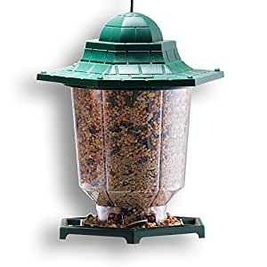 GrayBunny GB-6843 Gazebo Bird Feeder, Green, Premium Hard Plastic With Adjustable Hanging Rope