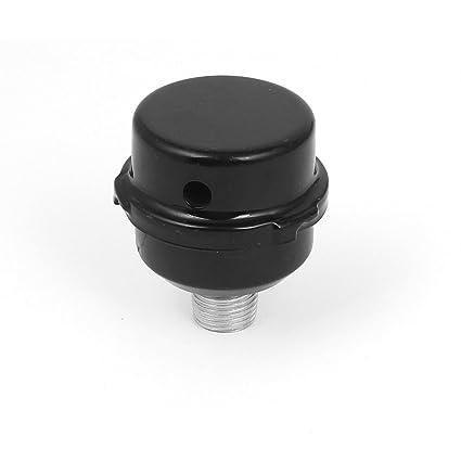 sourcingmap® Negro Metal Concha 20 mm Rosca Exterior Entrada De Aire Filtro Silenciador Silenciador Compresor