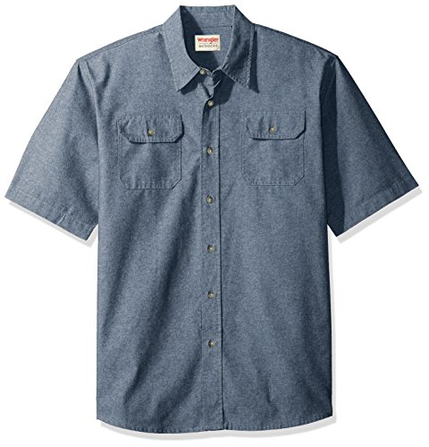 Wrangler Authentics Men's Short Sleeve Classic Twill Shirt, Dark Chambray, XL by Wrangler
