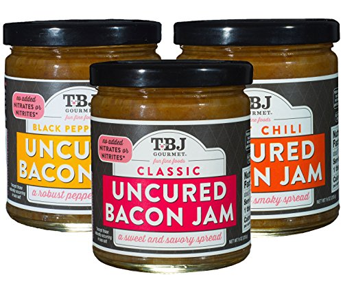 - TBJ Gourmet Bacon Jam Variety Pack - Classic Bacon Jam, Sweet Chili Bacon Jam, Black Peppercorn Bacon Jam - Original Recipe Bacon Spread - Uses Real Bacon - No Preservatives - 9 Ounces (Pack of 3)