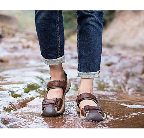 Gaorui Nya Män Pojkar Stängd Tå Strand Sandaler Utomhus Mjukt Läder Antisladd Skor Brun