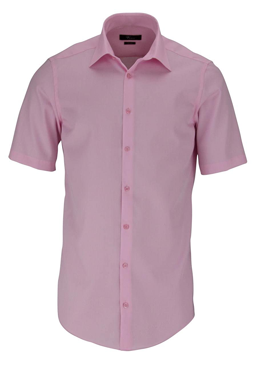 Venti Hemd Rosa Uni Langarm Slim Fit Tailliert Kentkragen 100/% Feinste Baumwolle