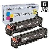 Clever Supplies© Compatible Toner Cartridges 2 Black Set for HP CP1525 (CE320A), HP 128A, COLOR LASERJET CM1415, CM1415FNW, CM1415FN, CP1520, CP1525, CP1525N, CP1525NW, CP1521N, Black