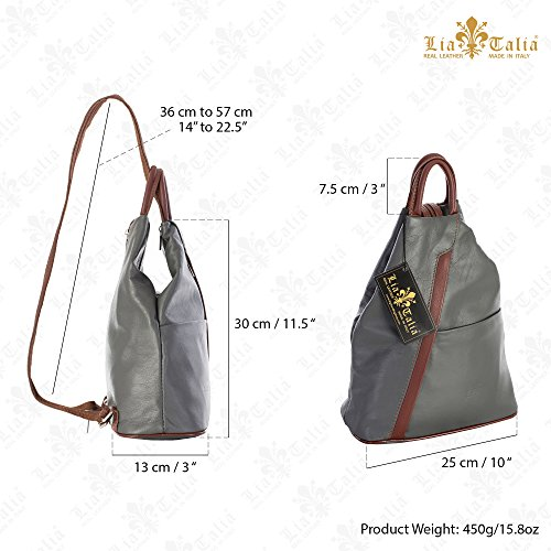 LIATALIA Italian Soft Leather Grey Small Unisex Duffle Convertible Rucksack Dark Backpack Bag ALEX Strap r5Eqwrnx
