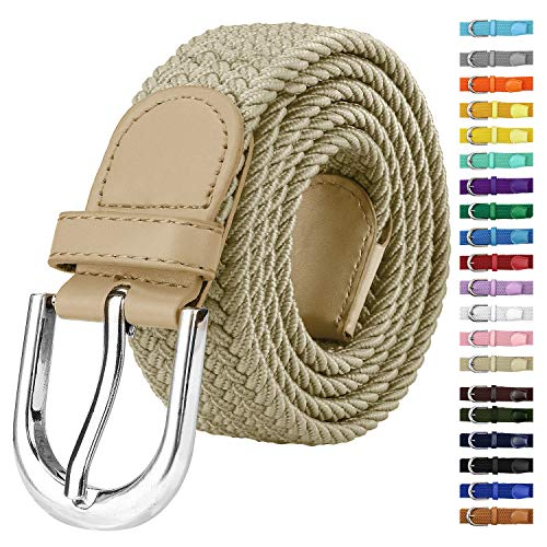 Falari Men Women Canvas Elastic Fabric Woven Stretch Braided Belt - Beige-Large