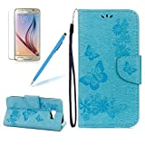 Leather Case For Samsung Galaxy A5 2017 / Galaxy A520, Girlyard Butterfly & Flower Embossing Series Design Folio Case Flip Magnetic with [Wrist Strap] and [Card Holder Slot] Full Body Protection Case, Sky Blue