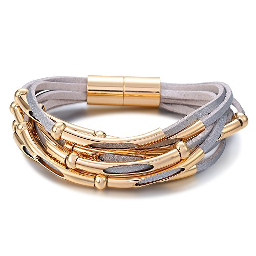 Stylish Leather Wristband Bracelet - Mytys Fashion Leather Wrap Bracelet Stylish Wristband Magnetic Clasp Gold Plated for Women Length:7.8''/20cm