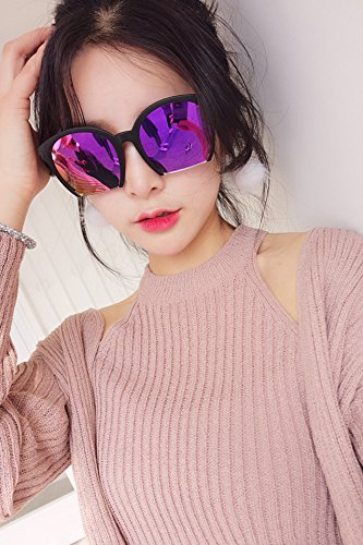 ((Glass Cloth Feeding Cassette) Retro Candy Color Personalized Half Frame Polarized Sunglasses face mask Color Film Reflective Sunglasses Couple Lover )