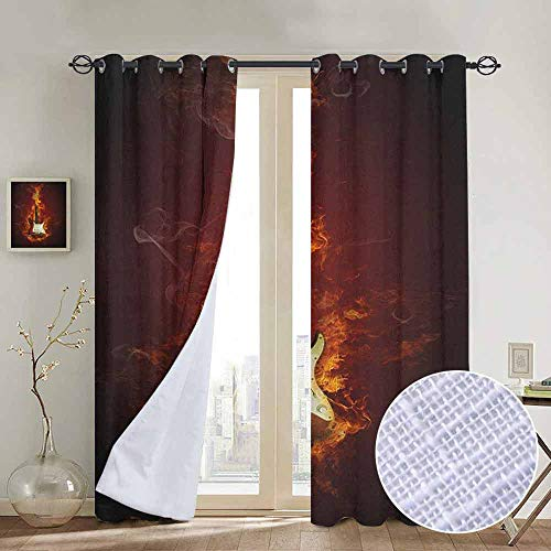 Modern Farmhouse Country Curtains Guitar,Electric Guitar in Flames Burning Fire Hardrock Musical Creativity Concept, Maroon Orange Black,Design Drapes 2 Panels Bedroom Kitchen Curtains 52