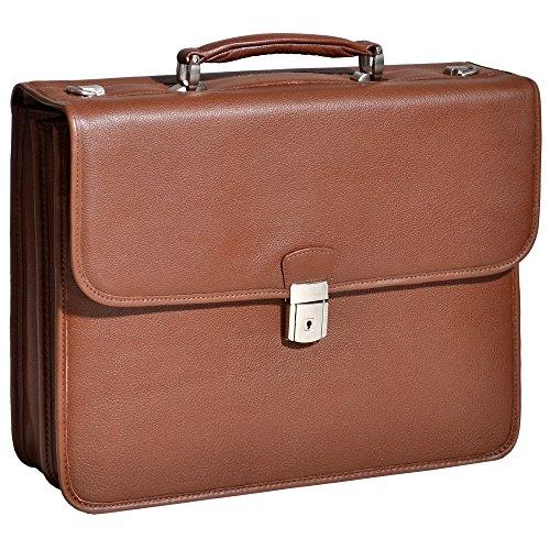 Double Compartment Laptop Briefcase, Leather, 15.4