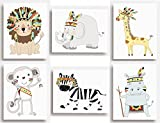 SET of 6 PRINTS –Tribal Jungle Animal Safari Nursery Wall Art for Child's Bedroom - UNFRAMED (149 x 203mm (6'x8')) (203 x 254mm (8'x10'))