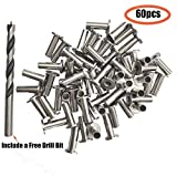Aokus 60Pcs Stainless Steel Protector Sleeves Include a Drill Bit for Cable Railing Kit Which with Wood Posts (1/8-Inch)