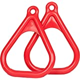 Swing Set Stuff Plastic Trapeze Rings with SSS Logo Sticker, Red