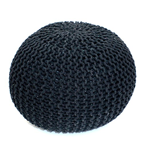 Madhu's COLLECTION Unique Pouf Decorative, Large, Dark Grey by Madhu's COLLECTION