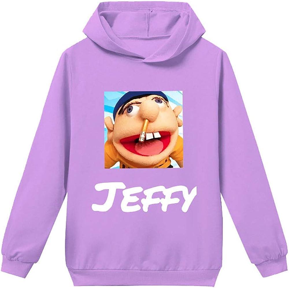 Nqdkfjeffr Jeffy Pullover Kids Popular Hooded Leisure Sweatshirt Imprint Cartoon Pullover Long Sleeve Tops Boys and Girls