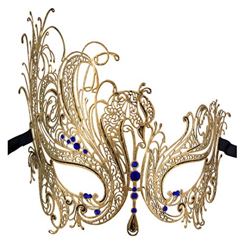 Xvevina Masquerade Mask for Women Ultralight Metal Mask Shiny Metal Rhinestone Venetian Pretty Party Evening Prom Ball Mask Blue Rhinestones Sexy Mask ()