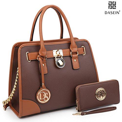 dasein-womens-designer-padlock-belted-top-handle-satchel-handbag-purse-shoulder-bag-with-wallet